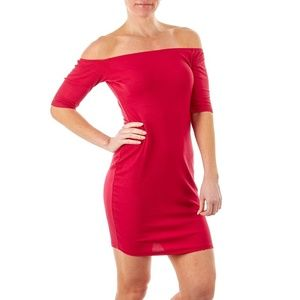 Juniors Ribbed Dress Red